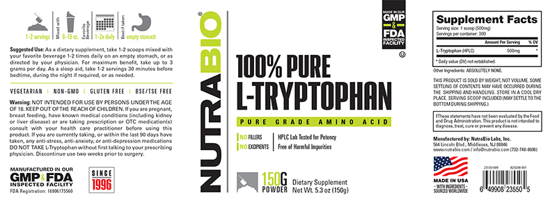Label Image for NutraBio Tryptophan Powder - 150 Grams