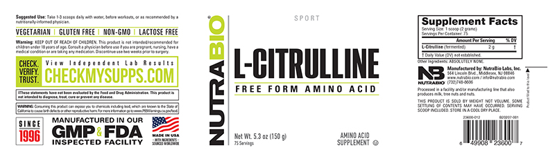 Label Image for NutraBio Citrulline Powder - 150 Grams
