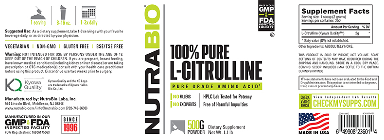 Label Image for NutraBio Citrulline Powder - 500 Grams