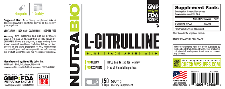 Label Image for NutraBio Citrulline (500 mg) - 150 Vegetable Capsules