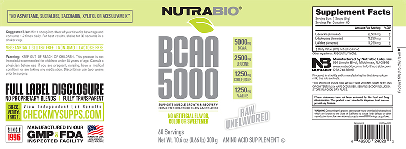 Label Image for NutraBio BCAA Natural Powder - 60 Servings
