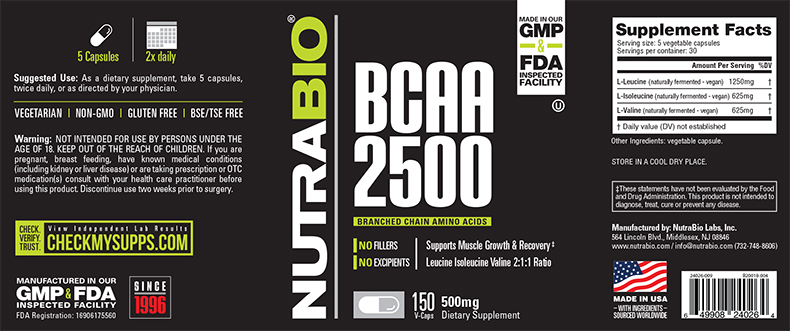 Label Image for NutraBio BCAA 2500 - 150 Vegetable Capsules