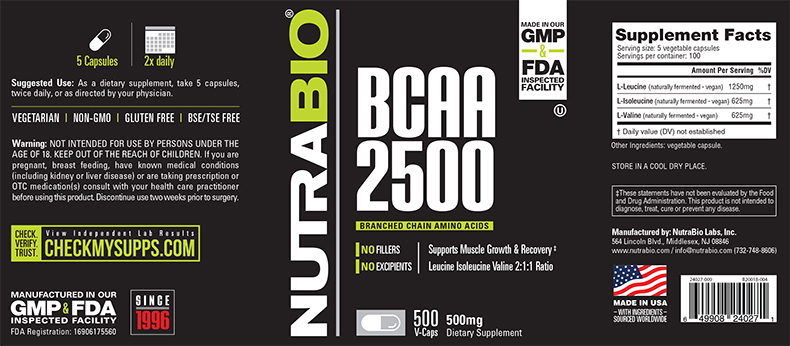 Label Image for NutraBio BCAA 2500 - 500 Vegetable Capsules