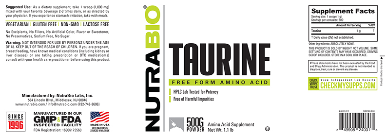 Label Image for NutraBio Taurine Powder - 500 Grams