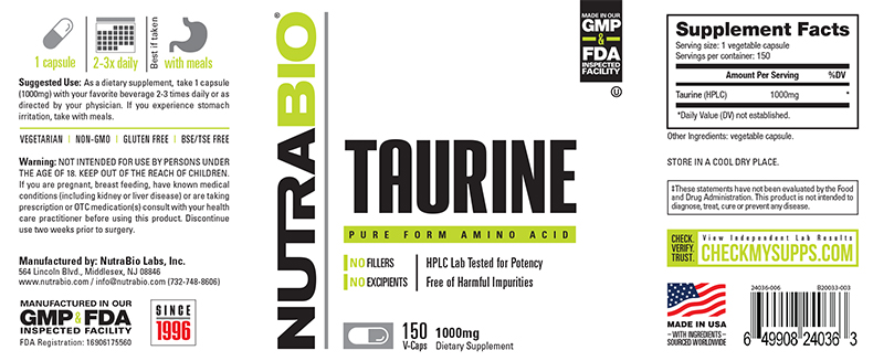 Label Image for NutraBio Taurine (1000mg) - 150 Vegetable Capsules