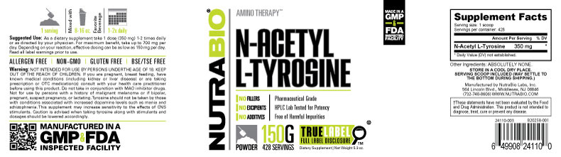 Label Image for N-Acetyl L-Tyrosine Powder - 150 Grams