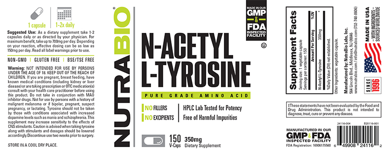Label Image for NutraBio N-Acetyl L-Tyrosine 350mg - 150 Vegetable Capsules