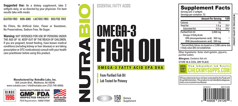 Label Image for NutraBio Omega 3 Fish Oil - 150 Softgels