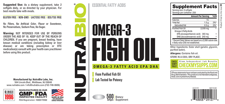 Label Image for NutraBio Omega 3 Fish Oil - 500 Softgels