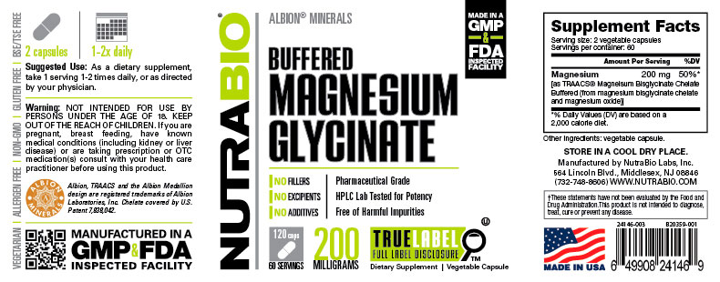 Label Image for Buffered Magnesium Glycinate (100mg) - 120 Capsules