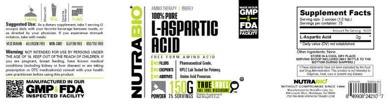 Label Image for Aspartic Acid Powder - 150 Grams
