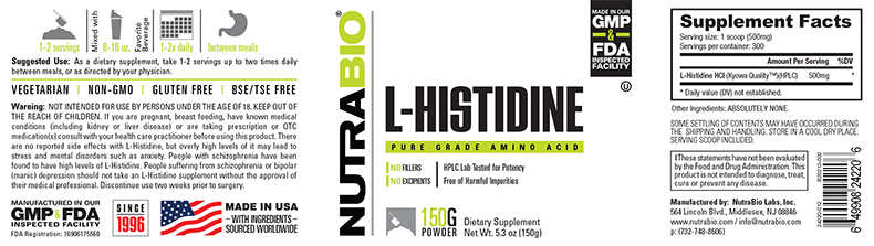 Label Image for NutraBio Histidine Powder - 150 Grams