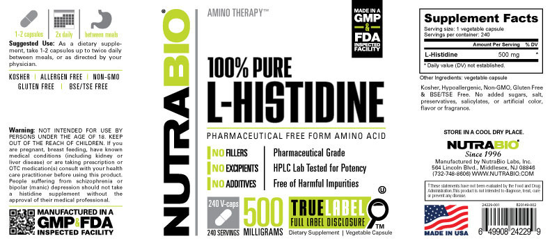 Label Image for NutraBio Histidine (500mg) - 240 Vegetable Capsules