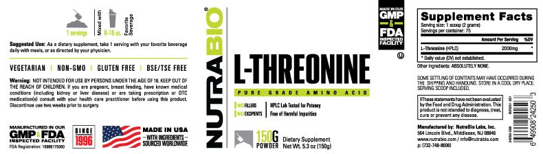 Label Image for NutraBio Threonine Powder - 150 Grams