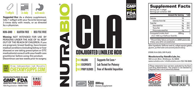 Label Image for NutraBio CLA (800mg) - 500 Softgels