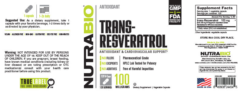 Label Image for trans-Resveratrol (100mg) - 120 Vegetable Capsules