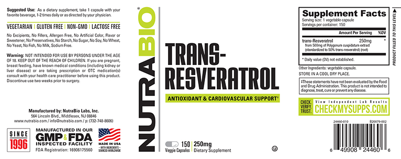 Label Image for NutraBio trans-Resveratrol (250mg) - 150 Vegetable Capsules