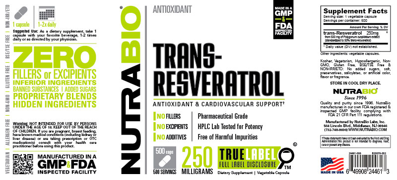 Label Image for trans-Resveratrol (250mg) - 500 Vegetable Capsules