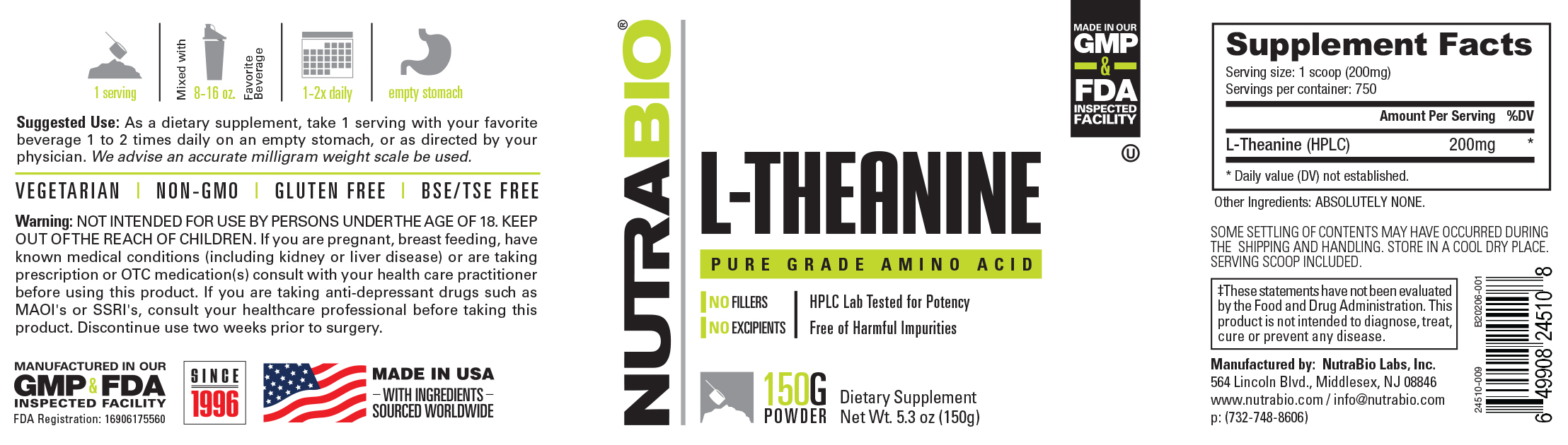 Label Image for NutraBio L-Theanine Powder - 150 Grams