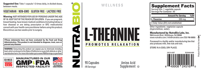 Label Image for NutraBio L-Theanine (200mg) - 90 Vegetable Capsules