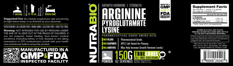 Label Image for NutraBio Arginine Pyroglutamate Lysine - 150 Grams Powder