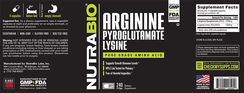 Label Image for NutraBio Arginine Pyroglutamate Lysine - 240 Vegetable Capsules