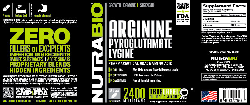 Label Image for Arginine Pyroglutamate Lysine - 500 Vegetable Capsules