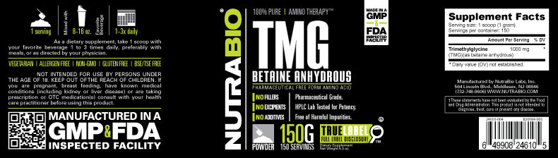 Label Image for Trimethylglycine (TMG, Betaine) Powder - 150 G