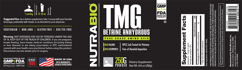 Label Image for NutraBio TMG (Betaine Anhydrous) Powder - 250 G