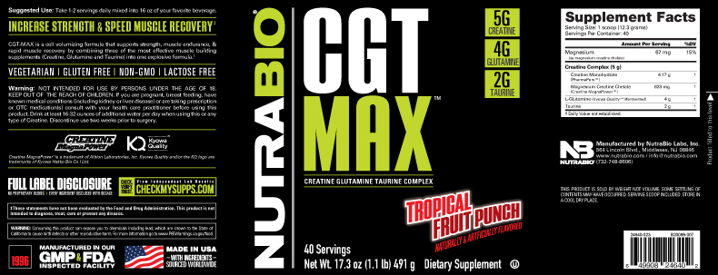 Label Image for NutraBio CGT-MAX Powder