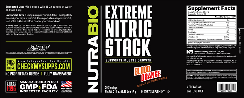 Label Image for NutraBio Extreme Nitric Stack
