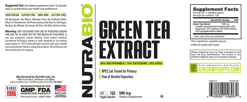 Label Image for NutraBio Green Tea Extract (500mg) - 150 Vegetable Capsules
