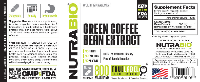 Label Image for Green Coffee Bean Extract (800mg) - 90 Capsules