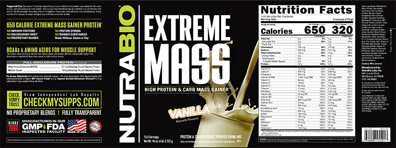 Label Image for NutraBio Extreme Mass - 6 lb