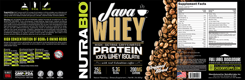 Label Image for NutraBio Java Whey Protein - 2 Pounds