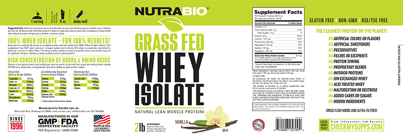 Label Image for NutraBio Grass-Fed Whey Protein Isolate - 2 lb