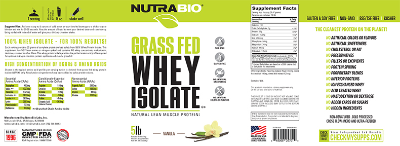 Label Image for NutraBio Grass-Fed Whey Protein Isolate - 5 lb