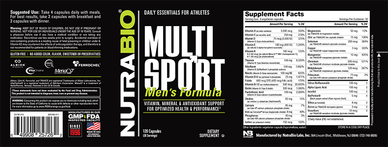 Label Image for NutraBio MultiSport for Men - 120 Vegetable Capsules