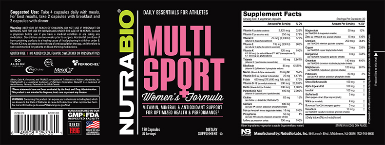 Label Image for NutraBio MultiSport for Women - 120 Vegetable Capsules