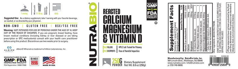 Label Image for NutraBio Reacted Calcium Magnesium Vitamin-D - 250 Grams
