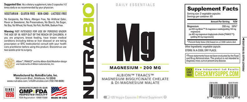 Label Image for NutraBio Reacted Magnesium - 120 Vegetable Capsules