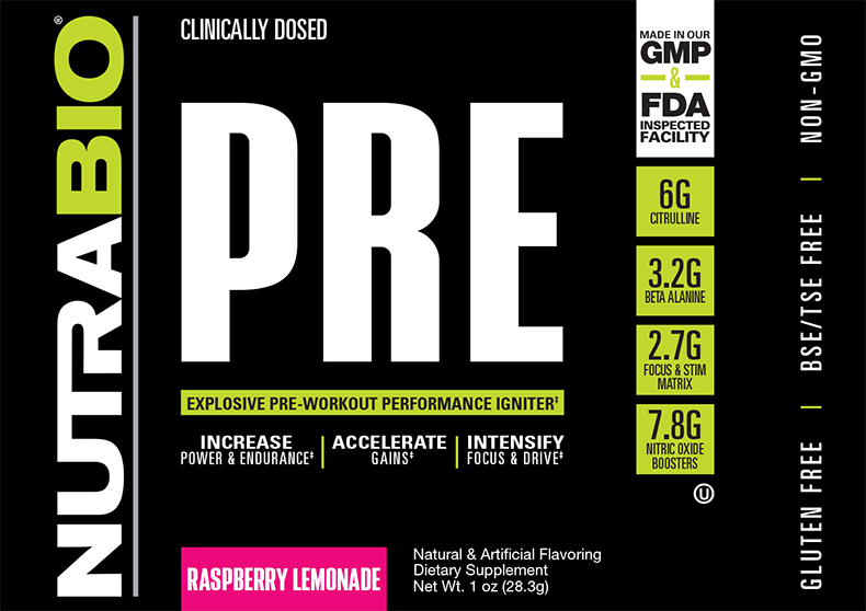 Label Image for NutraBio PRE Workout V5.0 - To-Go Pack (Raspberry Lemonade)