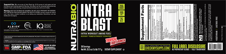 Label Image for NutraBio Intra Blast - 30 Servings