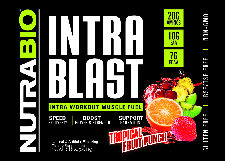 Label Image for NutraBio Intra Blast - To-Go Pack (Fruit Punch)