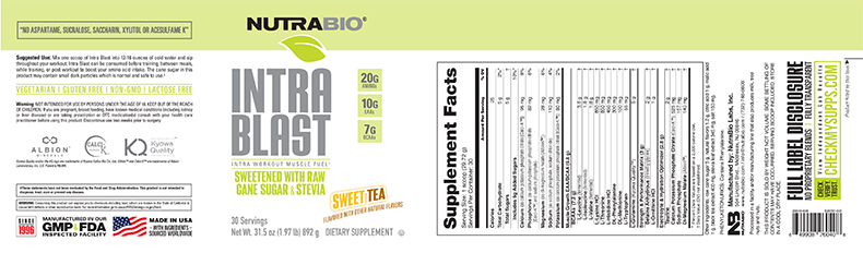 Label Image for NutraBio Intra Blast Natural