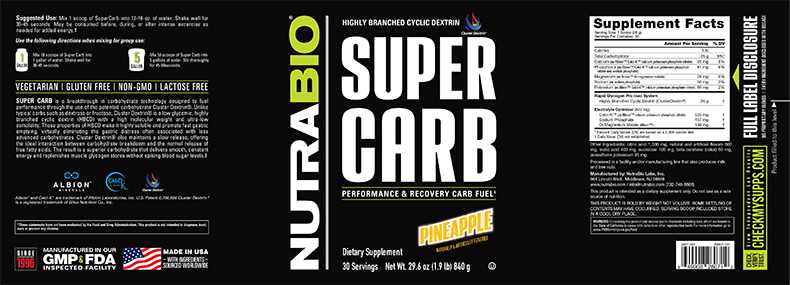 Label Image for NutraBio Super Carb - 30  Servings