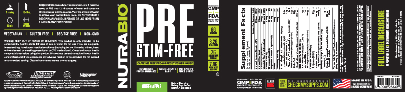 Label Image for NutraBio PRE Workout Stimulant Free