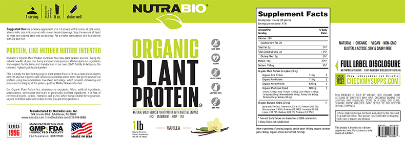 Label Image for NutraBio Organic Vegan Plant Protein - 1 Pounds