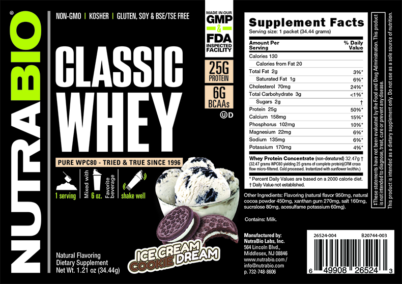 Label Image for NutraBio Classic Whey Protein - To-Go Pack (Cookies and Cream)