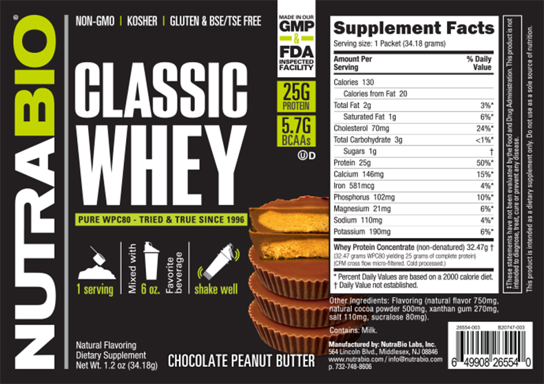 Label Image for NutraBio Classic Whey Protein - To-Go Pack (Chocolate Peanut Butter)